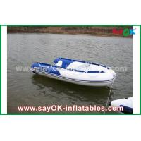 Quality Blue / White Heat Sealed PVC Inflatable Boats Water Racing Rigid Waterproof for sale