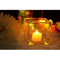 Quality 7 oz Square Thick modern glass candle holders / 230ml glass jar candle holders for sale