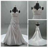 Buy Aline Spaghetti Straps Beading Belt Satin Wedding Dress #LT2144 at wholesale prices