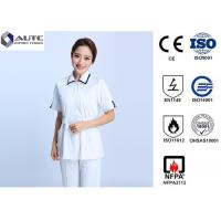 Quality Cotton Disposable Medical Clothing Round Neck Elastic Knitted Cuff Easy Cleaning for sale