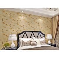 China Low Flammability Floral Deep Embossed PVC Living Room Wallpaper Yellow on sale