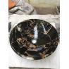 Portoro Black Golden Marble Sink Simple Round Wash Basin for sale