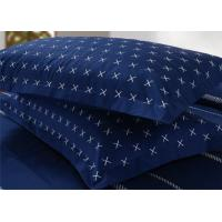 4Pcs Blue Bedding Sets , 100% Cotton Diamond Embroidered Navy Simple Bedding
