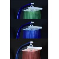 Buy Square Rainfall LED Shower Head With Temperature Sensor , Color Changing LED Rain Shower Head at wholesale prices