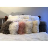 Quality Long Hair Sheepskin Real curly Sheep fur pillow Mongolian lambswool Cushion for sale