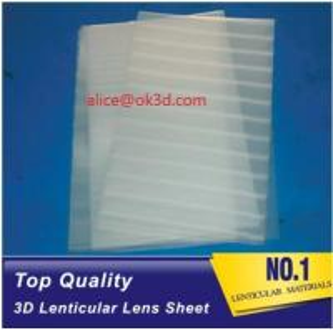 Quality PET lenticular materials thinner lens 51x71cm,0.58mm 100LPI lens Sheet 3D Lenticular  film materials for UV offset print for sale