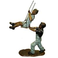 Quality Art Deco Bronze Children Playing Sand Sculpture for sale