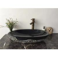 Vessel Mounted Black Stone Sink Bowl Split Surface For Corridor , 400x400x140mm for sale