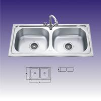 Quality Polished Stainless Steel Sinks For Kitchen , Double Bowl With Draining for sale