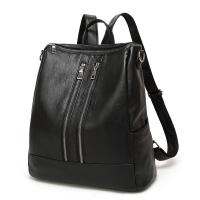 Quality Casual Womens Black Leather Backpack Multi Functional For Teenage Girls for sale