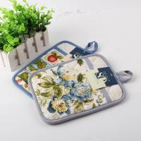 Quality Terry Cloth Cotton Kitchen Dual Useage Pot Holder / Kitchen Oven Mitts with Flower Printed for sale