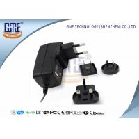 Quality Interchangeable Plug Power Adapter 12V 1A  , Black AC DC Power Adaptor for sale