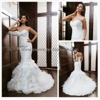 Quality Mermaid & Trumpet Sweetheart Beading Zipper Lace and Organza Bridal Dress XG006 for sale