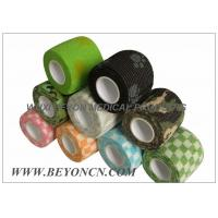 Quality Patterned Prints Cohesive Colored Sport Tape Logo Imprinted , Black Athletic Tape for sale