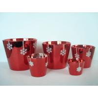 Buy Christmas Red Electroplated Ceramic Flower Pot For Plants 7 X 7 X 7 Cm , Flake Design at wholesale prices