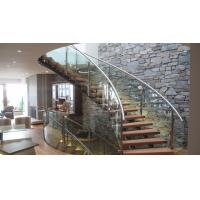 Quality Interior modern glass wood tread curved stair / staircase design for sale