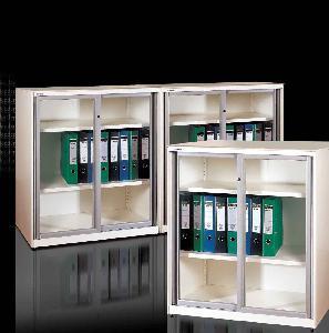 Quality Glazed Sliding Door Filing Cabinet (Slender, With Super Slim Design) for sale