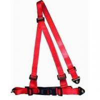 Quality Buckle Style Red Racing Safety Belts With Bolts / 3 Point Retractable Seat Belts for sale
