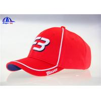 Quality 100% Polymesh 6 Panel Red Custom Baseball Caps With White Piping and 3D Embroidery for sale