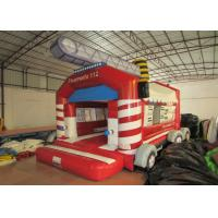 Quality Firetruck Commercial Bounce House Quadruple Stitching  , Inflatable Jumping Castle 5 X 6m for sale