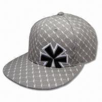 Quality 6 Panel Baseball Cap with Flat Peak without Closure on Back, Made of 100% Cotton Material for sale