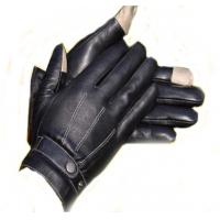 China fashion unisex black touch screen sheepskin leather gloves on sale