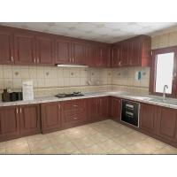 Quality Wooden Grain Cherry Wood Pvc Villa Kitchen Cabinets Traditional L - Shape For Home for sale
