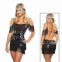 Quality Old Fashionable Fancy Dress Costume, Sequin Flapper costumes with Quality Fabric for sale