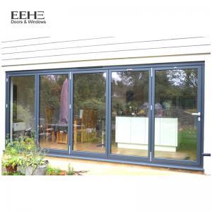Quality Low E Black Aluminium Bifold Doors / Large Aluminium Folding Patio Doors for sale