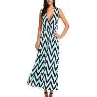 Quality Zig Zag Summer Holiday Maxi Dresses ,Elastic Waist Maxi Dresses For Short Ladies for sale