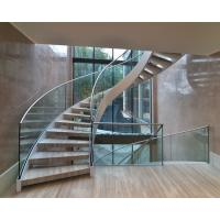 Quality Elegant interior wooden curved staircase with 50mm solid oak wooden treads for sale