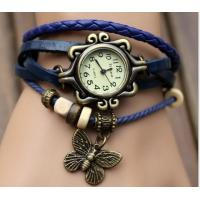 China Leather Vintage Watch Wrapped Bracelet Belt Watch with Butterfly Pendant on sale