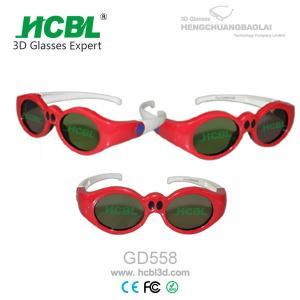Lovely Red Round Frame USB Recharable Active Shutter 3D Glasses For Children