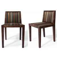 China Classic Dark Brown Modern Dining Room Chairs With Stripe Fabric Upholstered on sale