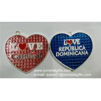 China Glass enamelled heart metal charm for love gift, clear enamel metal heart pendant on sale