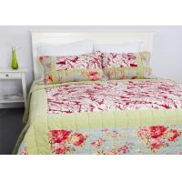 Quality Geometric Quilted Patchwork Bedspreads 3 Pcs Cotton Velvet Embroidered for sale