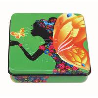 Quality Square Rectangular Tin Box , packing tin box with hinged lid with plastic inner and mirror for sale