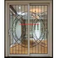 Quality Wrought iron glass panel with  12*12 black steel bar in sliding door for sale