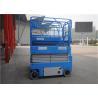 Blue Color Portable Scissor Lift , Mid Rise Scissor Lift 110v 220v 240v 380v Voltage for sale