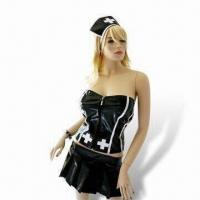 Buy cheap Black Leather Nurse Costume, Comes in Various Sizes, Ideal for Halloween Parties from wholesalers