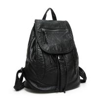 Quality Drawstring Fashion Ladies Backpack Washed Leather With Adjustable Shoulder Strap for sale