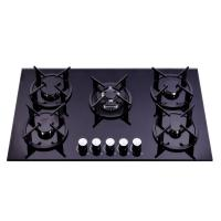 China Black 90cm Gas On Glass 5 Burner Hob  , Gas And Electric Stove 900*510mm on sale