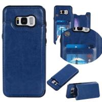 Quality Dark - Blue Galaxy S8 Plus Wallet Case Crazy Horse Business Use With Holder Function for sale