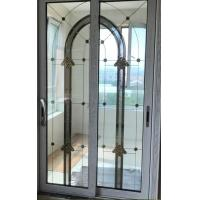 Quality Decorative leaded glass with brass came in sliding doors for sale