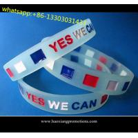 Quality Custom embossed/imprinted/printed logo Silicone Wristband,silicone bracelet with stone for sale