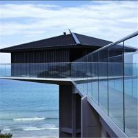 Quality Exterior glass railing for porch deck balcony with round handrail for sale