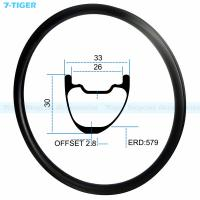 Quality 7-tiger carbon mountain bicycle wheel rim 29 er asymmetric offset XC bike 30 x 33 mm Tubeless Compatible for sale