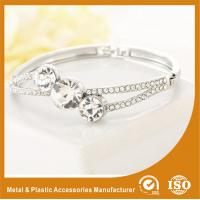 Quality Three Stones Shape Solid Silver Costume Jewellery Bangles Imitation Diamond for sale