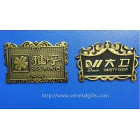 Quality Vintage style antique brass plated metal sign board name plates emblem plaques, zinc alloy for sale