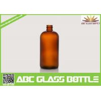 Buy 1OZ Amber Boston Round Flat Glass Cough Syrup Bottle at wholesale prices